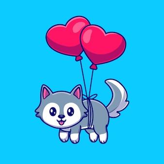 Cão husky bonito flutuando com coração balão cartoon ilustração vetorial de ícone.