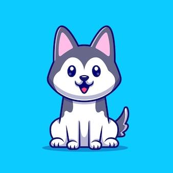 Cão husky fofinho sentado
