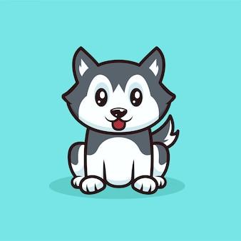 Cão husky fofo sentado com desenho de mascote