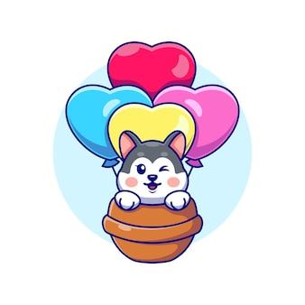 Cão husky fofo voando com desenho de balão de amor