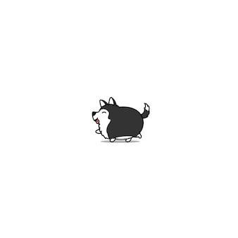 Cão husky siberiano gordo andando ícone dos desenhos animados