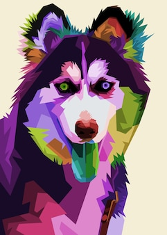 Cão husky siberiano no estilo pop art.