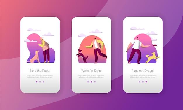 Cão jogar salto com mulher proprietário conjunto de tela a bordo de página de aplicativo móvel ao ar livre.
