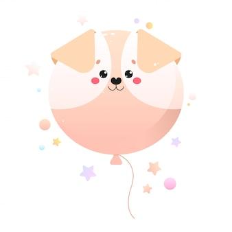 Cão kawaii fofo de balão. animal isolado