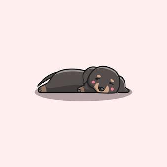 Cão kawaii fofo desenhado à mão bored lazy dachshund
