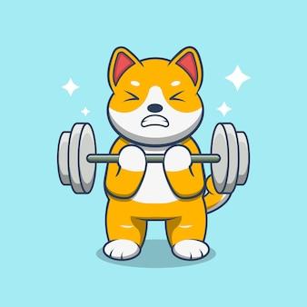 Cão levanta a ilustração em vetor dos desenhos animados de barra. conceito de ícone do esporte animal isolado no vetor premium.