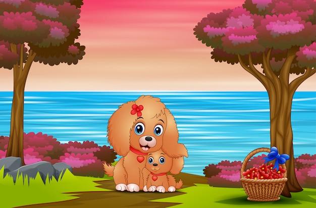 Cão mãe bonito dos desenhos animados com seu cachorro ao ar livre