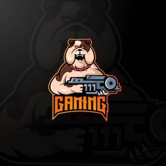 Cão mascote logotipo projeto vector com estilo moderno conceito de ilustração para crachá