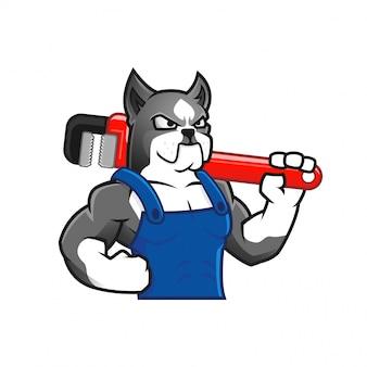 Cão musculoso, segurando uma chave como encanador ou trabalhador, desenho de personagem de cachorro