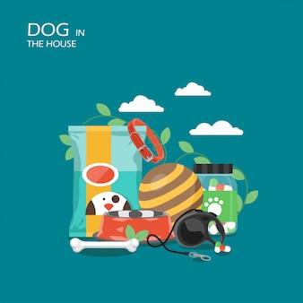 Cão na cena da casa