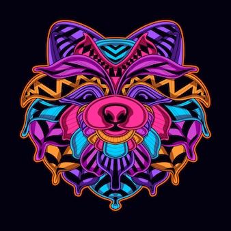 Cão na cor neon