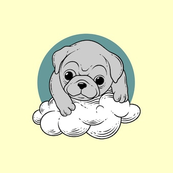 Cão na nuvem estilo de desenho à mão