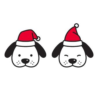 Cão natal cartao de papai noel desenho animado