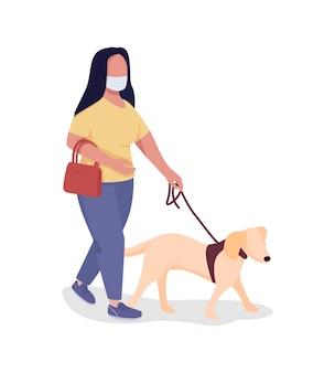 Cão passeando durante uma pandemia de personagem vetorial de cor semi plana