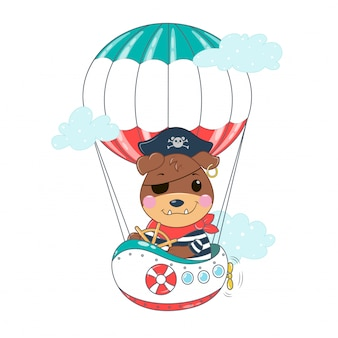 Cão pirata no navio aéreo entre nuvens. ilustração em vetor kawaii bulldog em cores planas.