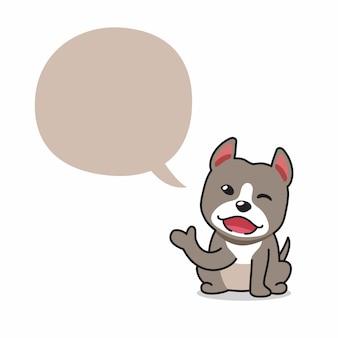 Cão pitbull terrier de personagem de desenho animado com balão de fala