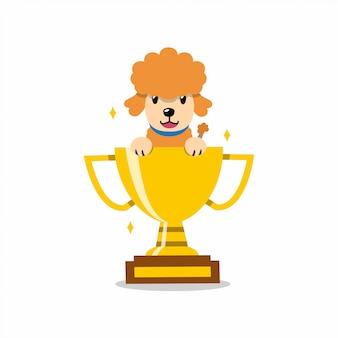Cão poodle de personagem de desenho animado com prêmio de copa troféu de ouro