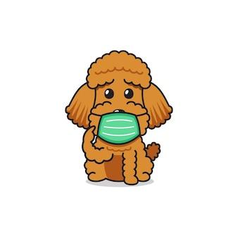 Cão poodle personagem de desenho animado usando máscara protetora para o projeto.