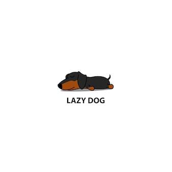 Cão preguiçoso, cachorro fofo bassê dormindo ícone