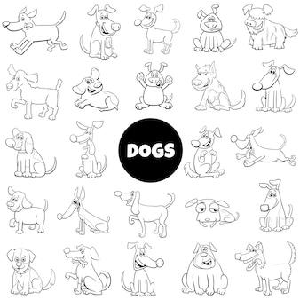 Cão preto e branco dos desenhos animados conjunto grande de caracteres