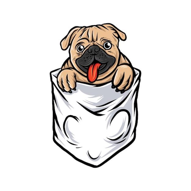 Cão pug bolso engraçado