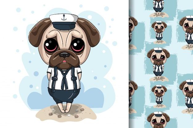Cão pug bonito dos desenhos animados com costume marinho