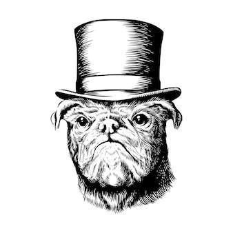 Cão pug com cartola a preto e branco desenho ilustração