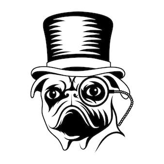 Cão pug com cartola a preto e branco ilustração desenho arte cnc corte impressão arte em metal