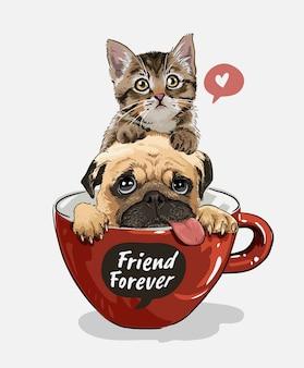 Cão pug e gatinho na ilustração de copo de café vermelho