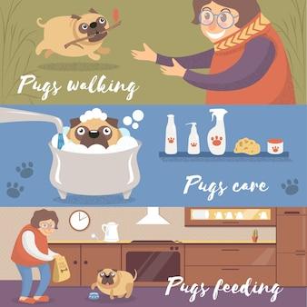 Cão pug engraçado bonito em diferentes situações, pugs andando, cuidando e alimentando ilustrações coloridas