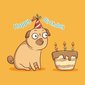 Cão pug feliz aniversário com soprando uma vela no bolo de aniversário. cartão de feliz aniversário