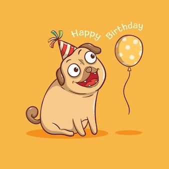 Cão pug fofo com balão de aniversário. cartão de feliz aniversário