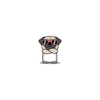 Cão pug fofo com óculos de sol cruzando os braços ilustração do desenho animado