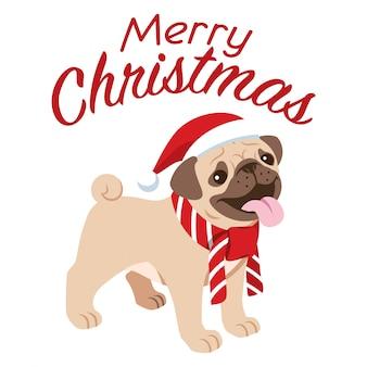 Cão pug fofo comemorando o natal