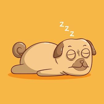 Cão pug fofo dormindo em fundo laranja