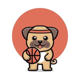 Cão pug fofo jogando bola de basquete personagem de desenho animado