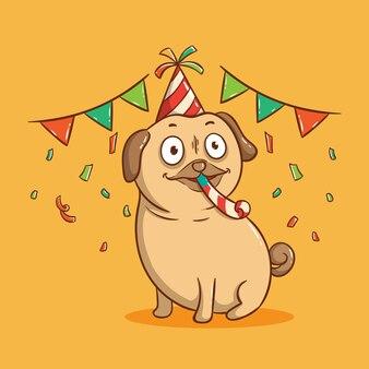 Cão pug fofo na festa de aniversário. cartão de feliz aniversário