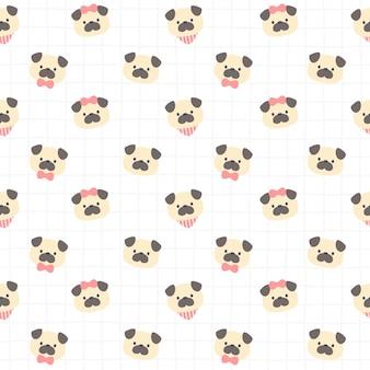 Cão pug fofo padrão de repetição sem costura, papel de parede, padrão sem emenda fofo