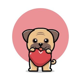 Cão pug fofo segurando uma ilustração de personagem de desenho animado de coração