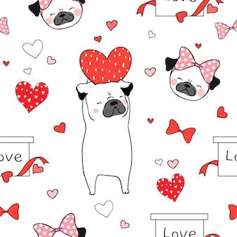 Cão pug sem costura padrão com coração vermelho para dia dos namorados