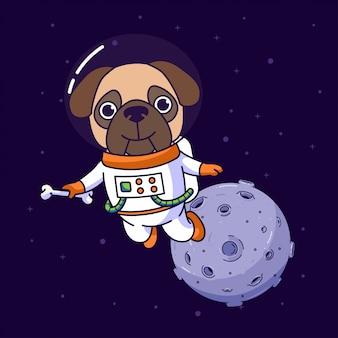 Cão pug voando no espaço
