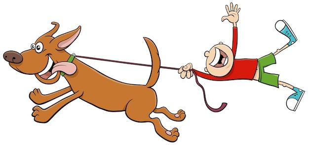 Cão puxando criança na coleira ilustração dos desenhos animados Vetor Premium