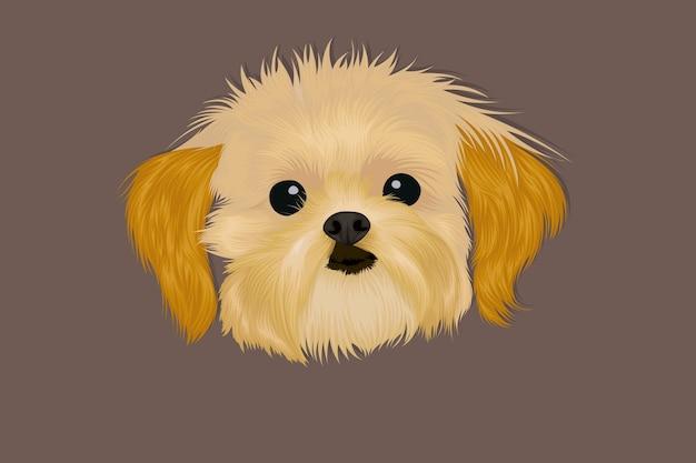 Cão realista desenhado à mão