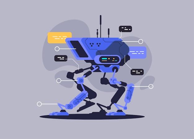 Cão robô militar. tecnologia moderna do futuro. ilustração vetorial
