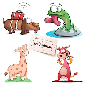 Cão, sapo, girafa vaca - conjunto de animais