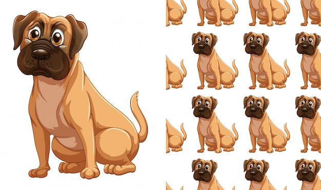 Cão sem costura padrão animal dos desenhos animados