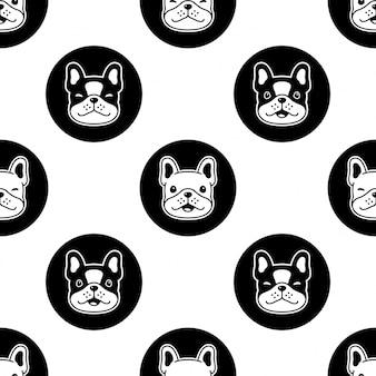Cão sem costura padrão buldogue francês dos desenhos animados bolinhas