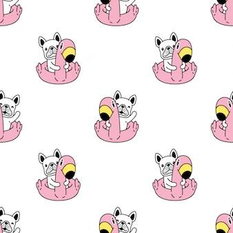 Cão sem costura padrão bulldog francês anel de natação flamingo