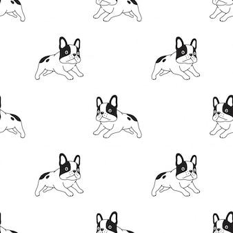 Cão sem costura padrão bulldog francês executando ilustração dos desenhos animados