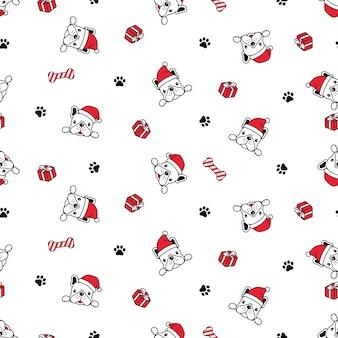Cão sem costura padrão bulldog francês natal papai noel caixa de presente desenho animado